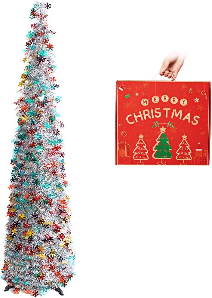 N&T NIETING Christmas Tree, 5ft Collapsible Pop Up Silver Tinsel Christmas Tree Coastal Christmas Tree for Holiday Decorations, Home Display, Office Decor, Halloween Decoration