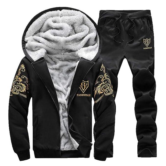 e7f725cb12b8 Men Thicken Fleece Sweatshirt Top Pants Sets