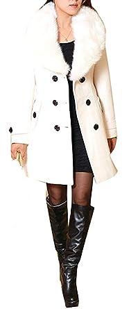 Femme Caban Femme Laine Double Breasted Chaud Manches Longues Manteau d  hiver Mélange de Laine f1ec06168db3