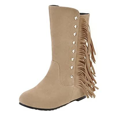 Women Gladiatore Fringe Boots Height Increasing Mid Calf Boots