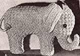 Vintage Crochet PATTERN to make - Elephant Stuffed Animal Soft Toy. NOT a finished item. This is a pattern and/or instructions to make the item only.