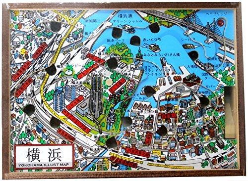 横浜イラストマップ風 ラビリンスゲーム (穴に落とさずにボードを傾けながら玉をゴールまで運ぶゲーム)