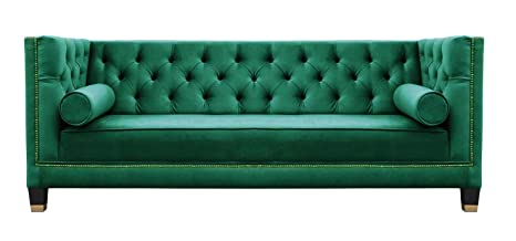 Belle Fierté Oscuro Verde Elegante 2 plazas Chesterfield ...