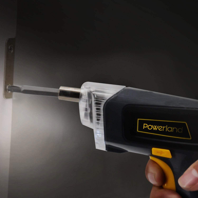 Powerland Atornillador Destornillador Eléctrico Inalámbrico, Par de Salida 3.6 Nm 1300mAh Batería BrocaLUZ LED, Cargador USB y Indicador de Batería
