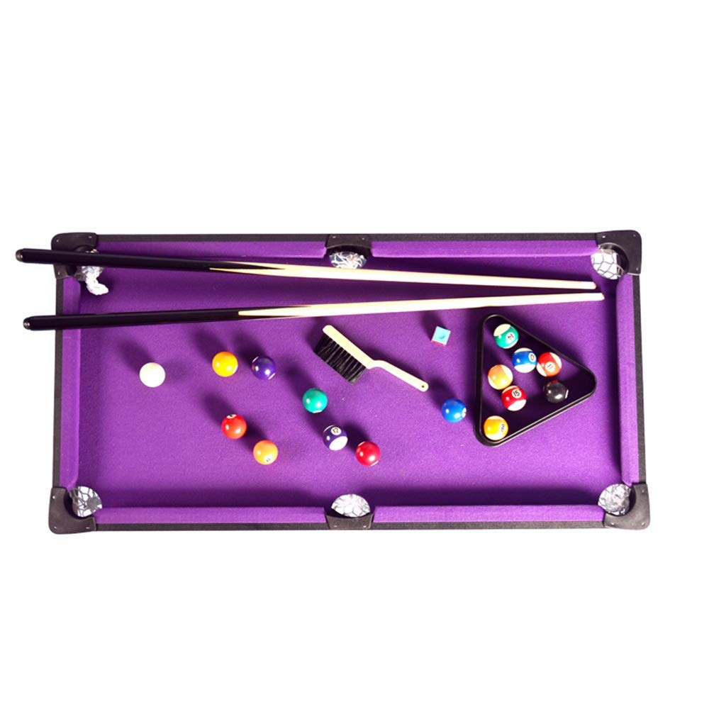 TAESOUW-Sports Tabletop Pool Table Set and Accessories Billiard Tables Balls Cues and Rack - Fun Portable Family Games for Family Parties Camping Road Trips (Color : Purple, Size : 91x46x20cm) by TAESOUW-Sports