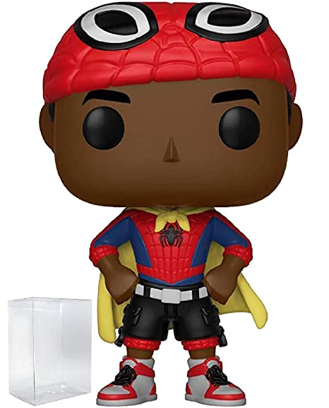 f38af033da1 Animated Spider-Man Movie  Into The Spider-Verse - Miles Morales Unmasked  with Cape Vinyl Figure (Includes Pop Box Protector Case)  Toys   Games