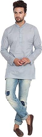 MapleClothing Vestido Algodón Hombre Corto Kurta Camisa Ropa India: Amazon.es: Ropa y accesorios