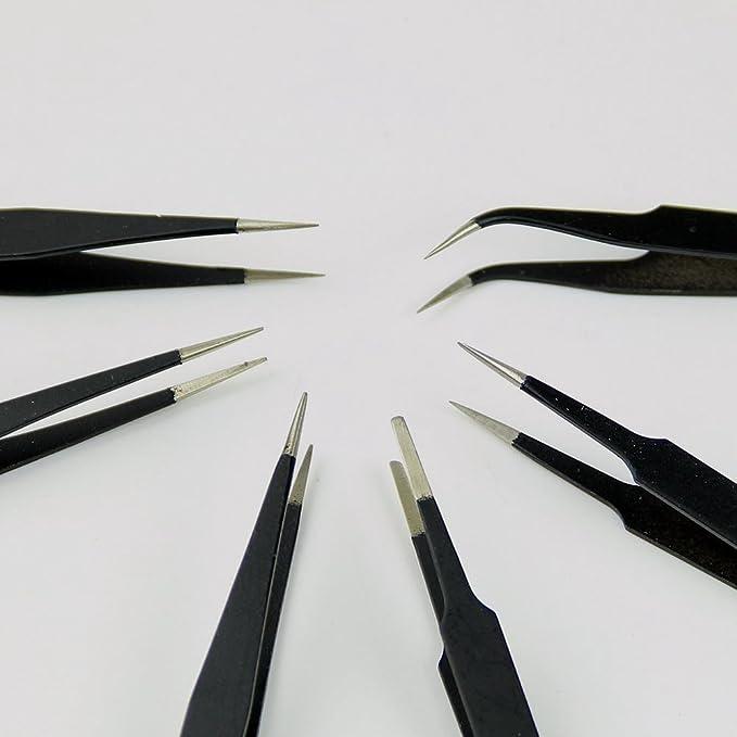 lot de 6 Jooks Ensemble de pinces de maintenance et de pr/écision an acier inoxydable antistatique