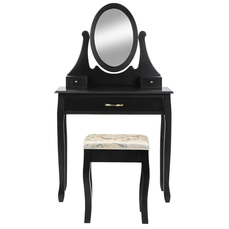 Miadomodo Specchiera toeletta tavolo da trucco con specchio inclinabile e sgabello colore nero SMKTH004A0sw0000
