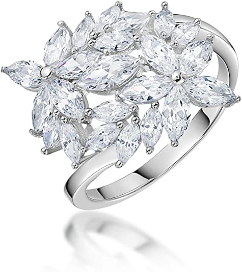 Ginger Lyne Collection Georgia Anniversary Band 925 Sterling Silver Ring Princess Cut