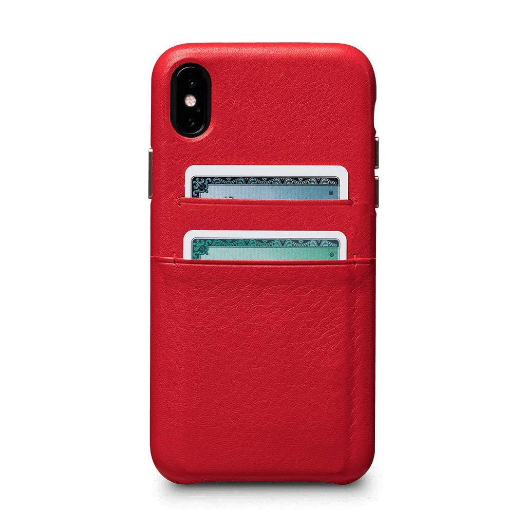 Sena Cases, Kyla Leather Snap On Wallet Case for iPhone Xs & X - Wireless Charging Compatible - Red