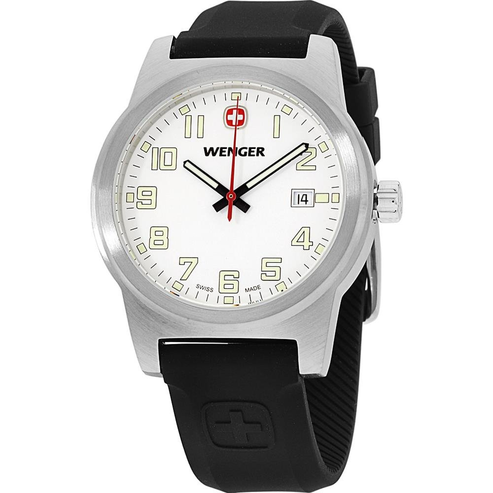 Wenger Swiss Mens Field Classic Watch Large 42mm White Dial Date Silicone Rubber Sports Strap 01.0441.117 by Wenger