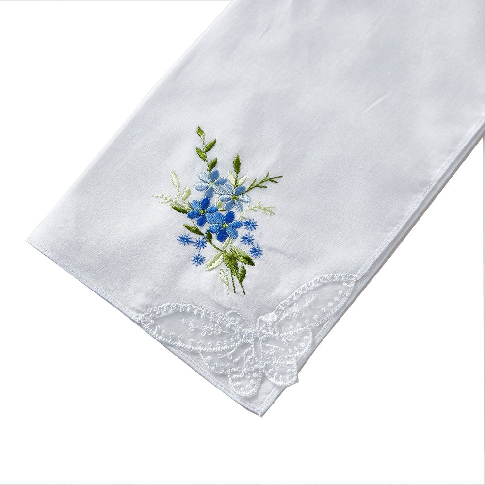 Women/'s Floral Embroidered White Cotton Handkerchief 3-pc Box Set
