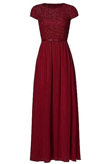 Review Ssyiz Custom Womens Vintage Floral Lace Cap Sleeve Long Chiffon Bridesmaid Evening Dress