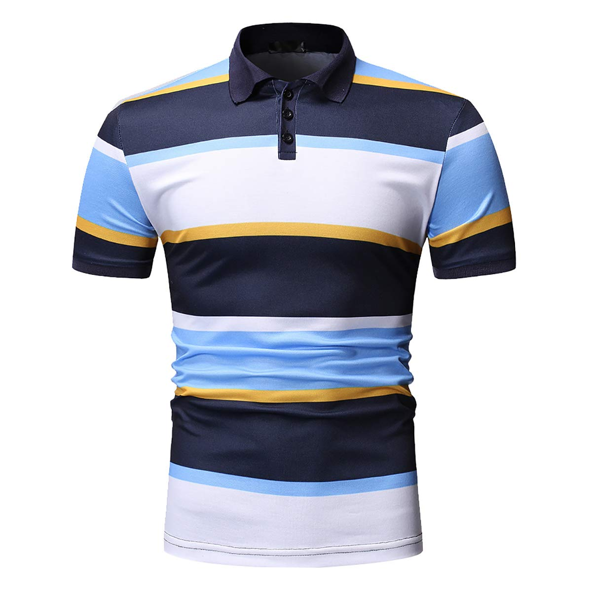 Mens Short Sleeve Color Block Polo T Shirt Casual Stripe Jersey Sport Top Blouse