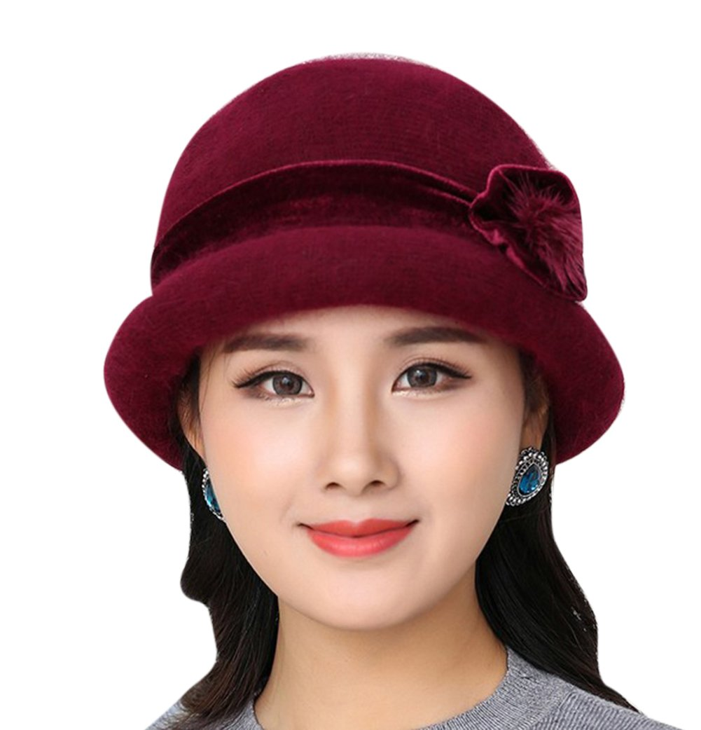 Eliffete Lady Winter Blend Wool Beret Hat Dark Red Round Top Skull Cap Billycock