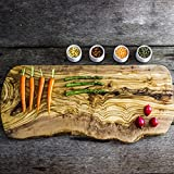 "Large Rustic Olive Wood Chopping, Cutting, Carving, Presentation, Serving Board - Length 19"" to 21"" x Width Minimum 7.5"" x Depth 0.8"""