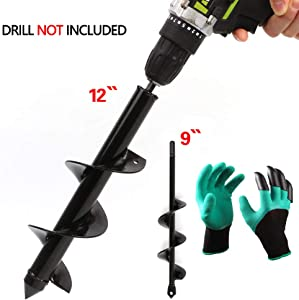 """LAMPTOP 2-Pack Auger Drill Bit, Garden Plant Flower Bulb Auger 3"""" x 12"""" and 1.6""""x9"""" Rapid Planter with Garden Genie Gloves, Post or Umbrella Hole Digger for 3/8"""" Hex Drive Drill"""