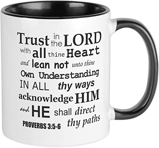 Amazon Com Cafepress Proverbs 3 5 6 Kjv Dark Gray Print Mug Unique Coffee Mug Coffee Cup Kitchen Dining