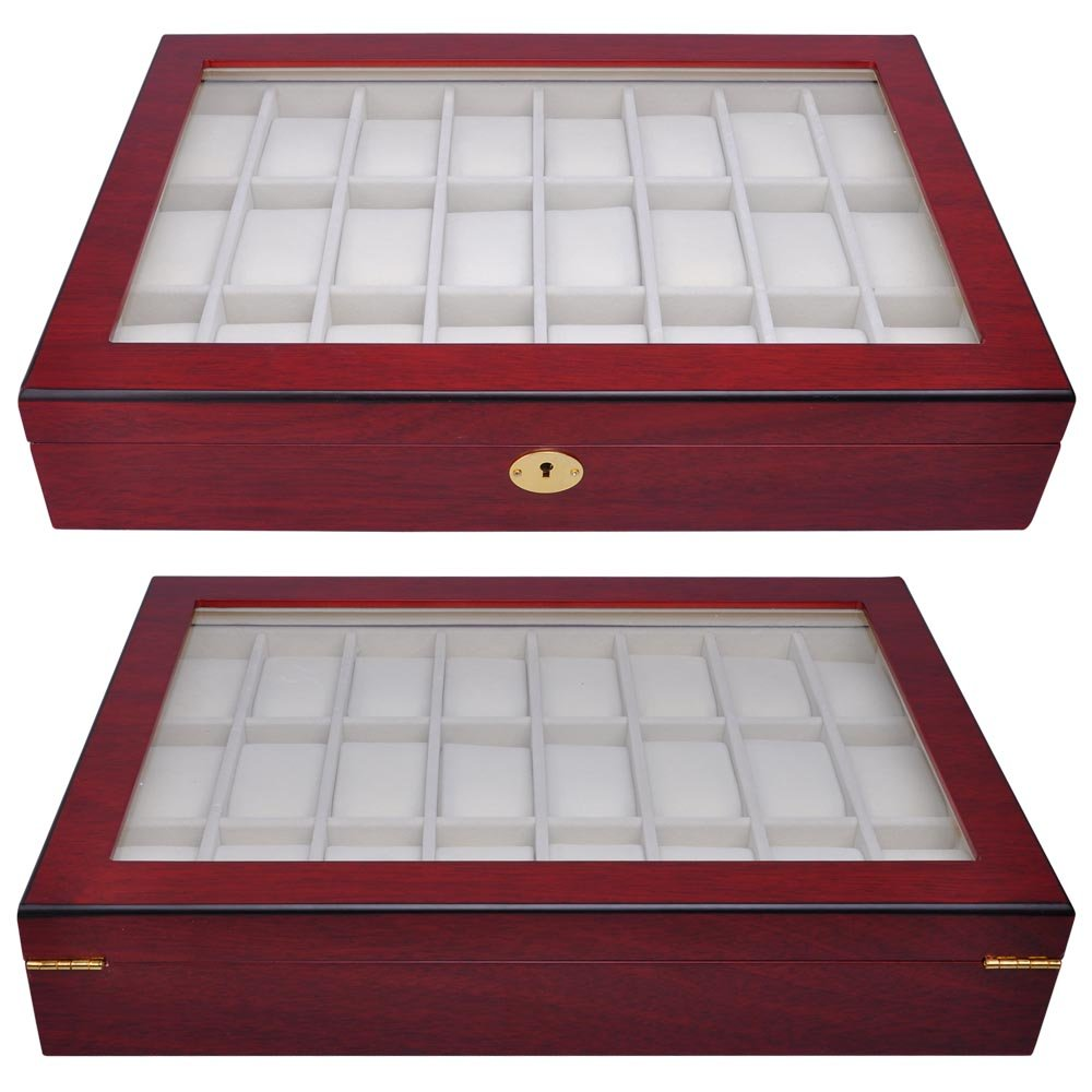 "Rosewood Matte Stain Wooden Glass Top 24 Watch Display Case 17"" L Jewelry Box Lock for Store Home Travel by Generic (Image #6)"