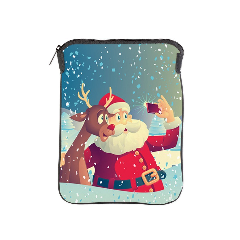 iPad 1 2 3 4 Air II Sleeve Case (2-Sided) Santa and Rudolf taking a Selfie by Truly Teague