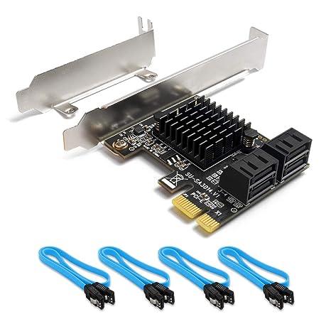 QNINE Tarjeta PCIe SATA 4 puertos con 4 cables SATA, tarjeta de expansión del controlador SATA PCI Express, tarjeta PCIe SATA 3.0 de 6 Gbps sin Raid, ...