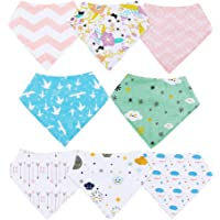 Baberos Bebé Baberos Bandanas para Bebés y Niños, 8 pcs 100% Algodón Orgánico de YOOFOSS (Niñas)