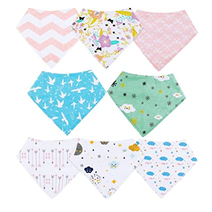 Set 8 Baby Bibs Unisex Bandana Drool for Drooling /& Teething Boys Girls Toddlers