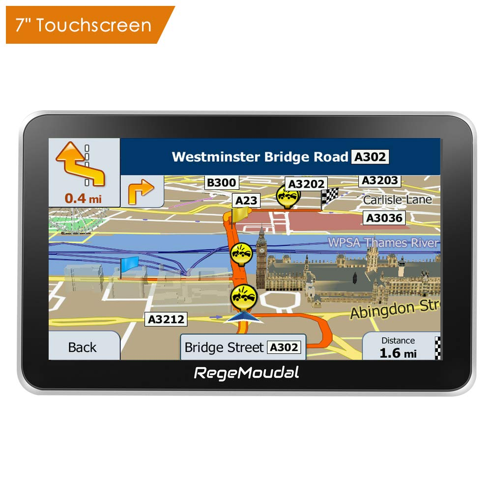 Car GPS Navigation, RegeMoudal 7 Inch Vehicle GPS Navigation for Car System 8G Memory Portable Truck Navigator Touch Screen Multimedia Pre-Installed US Lifetime Maps Free Update Driver USB Cable