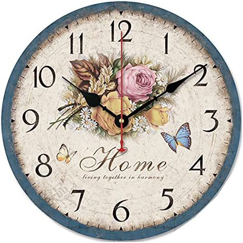 12-Inches Country Style Wooden Non-ticking Round Wood Wall Clocks Rose Numeral Clock Retro Blue
