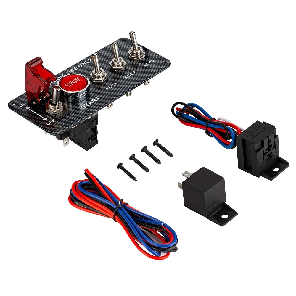 Jtron 12v Ignition Switch Diy Racing Rocker Push Converting Fro Key To Toggle And Button 3 Panel Engine Start Red Led Switches For