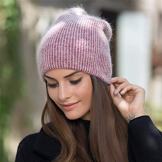 4899e4bad8f9ec Women Winter Cap Rabbit Fur Beanie Skullies Warm Fashion Gravity Hat Simple  Children Female at Amazon Women's Clothing store: