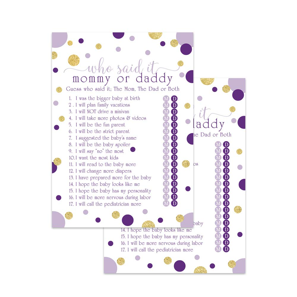 Amazon Com Purple And Gold Baby Shower Games Guess Who Set Of 25