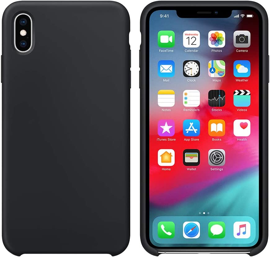 xperg iPhone X Case, iPhone Xs Silicone Case, Slim Liquid Silicone Gel Rubber Shockproof Case Soft Microfiber Cloth Lining Cushion Compatible with iPhone X/XS(5.8 inch), Black