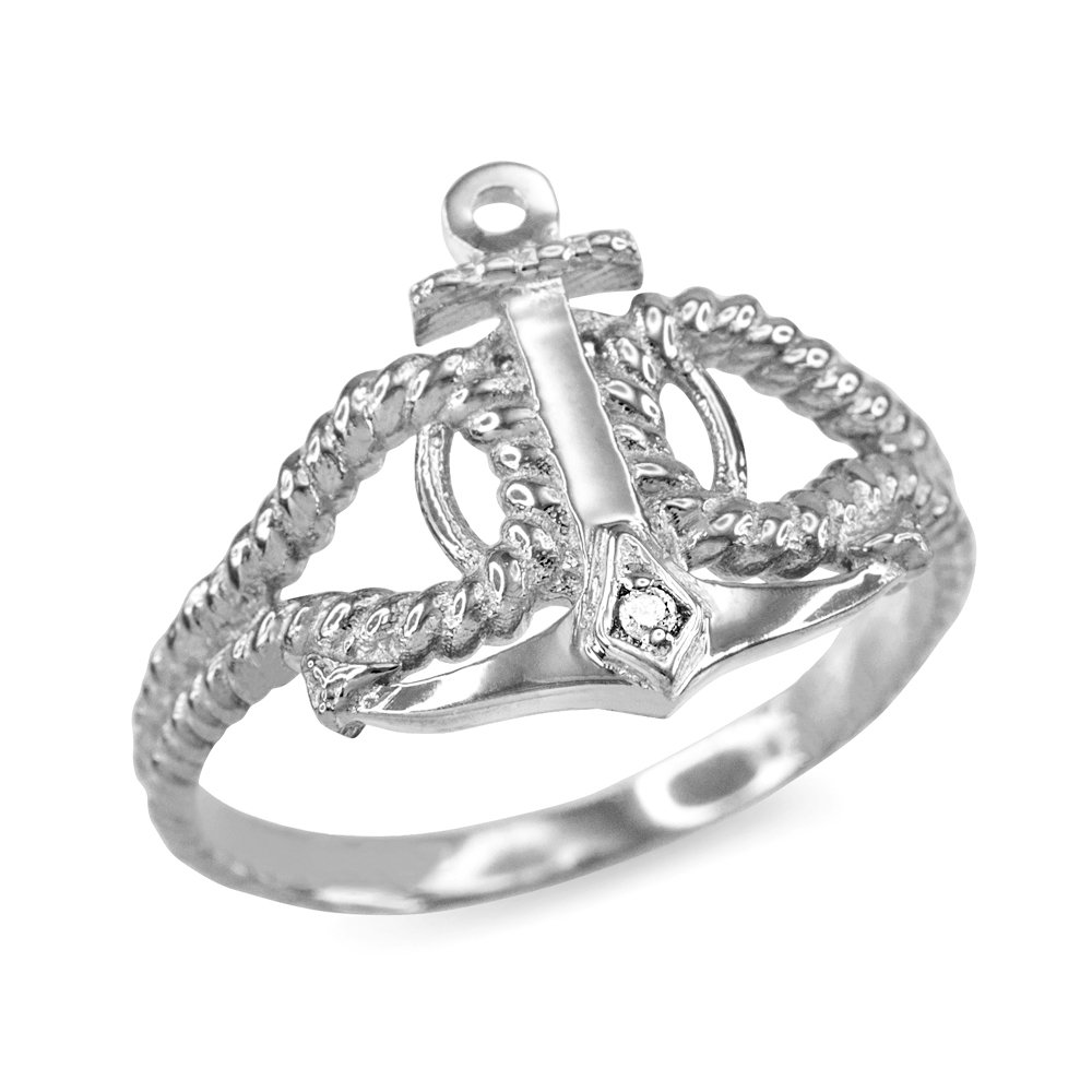 Twisted Style Nautical Rope and Anchor CZ Ring in Sterling Silver (Size 6)