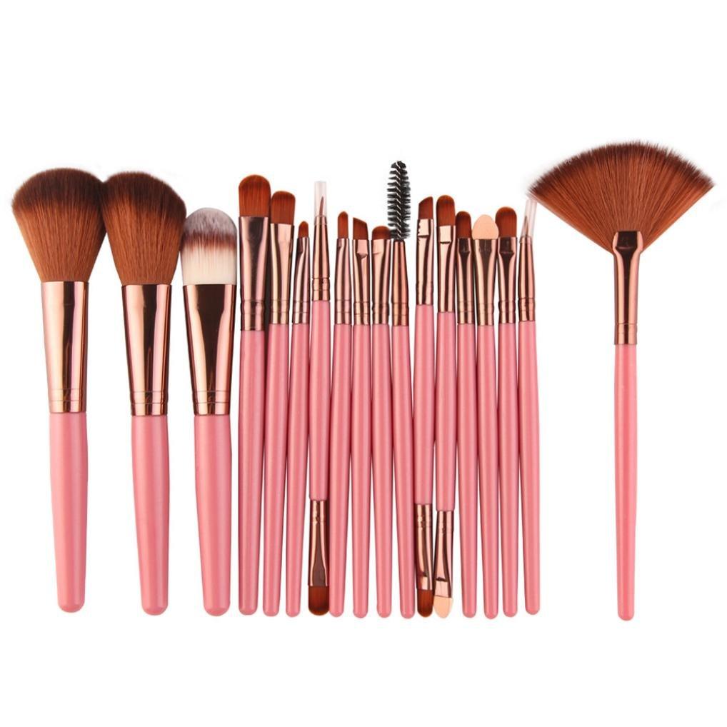 New 18 pcs Makeup Brush Set - Fheaven Wool Make Up Brush Set -Foundation Powder , Lip , Mascara , Eyeshadow , Two Side , Eyebrow Mascara , Sponge , Smudge , Nose Shadow , Eyeliner Brush (Black)