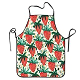Strawberry Women Comfortable Kitchen Apron, Perfect For Cooking, Baking, Crafting