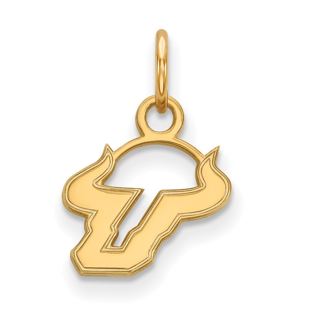 Jewel Tie 925 Sterling Silver with Gold-Toned University of South Florida Extra Small Pendant 11mm x 15.5mm