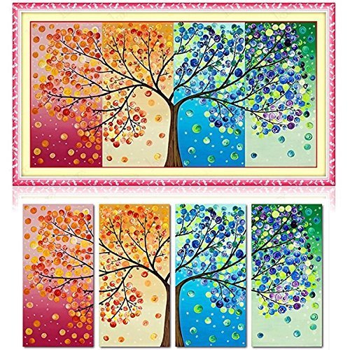 4pcs DIY Handmade Season Tree Counted Cross Stitch Embroidery Kit