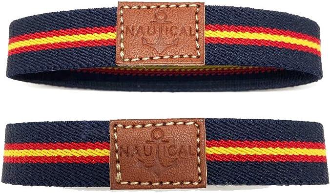 HISPANIA COLORS SINCE MMXI SPAIN Pack de Dos Pulseras elásticas con la Bandera de España. Unisex (Azul Marino): Amazon.es: Joyería