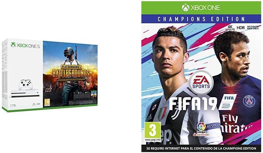 FIFA 19 Champions + Xbox One S - Consola de 1 TB + Playerunknowns ...