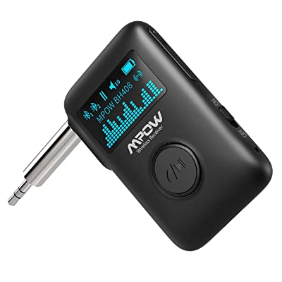 Mpow Bluetooth Music Receiver, Bluetooth 5.0 Receiver with Display Screen, Bluetooth Aux Adapter with DSP CVC8.0 Noise Cancellation, 3D Surround Sound for Car Home Stereo, Slide Switch/Voice Assistant