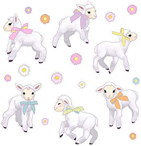 Oliver's Labels Easter Lambs Wall Decals Peel and Stick Decoration