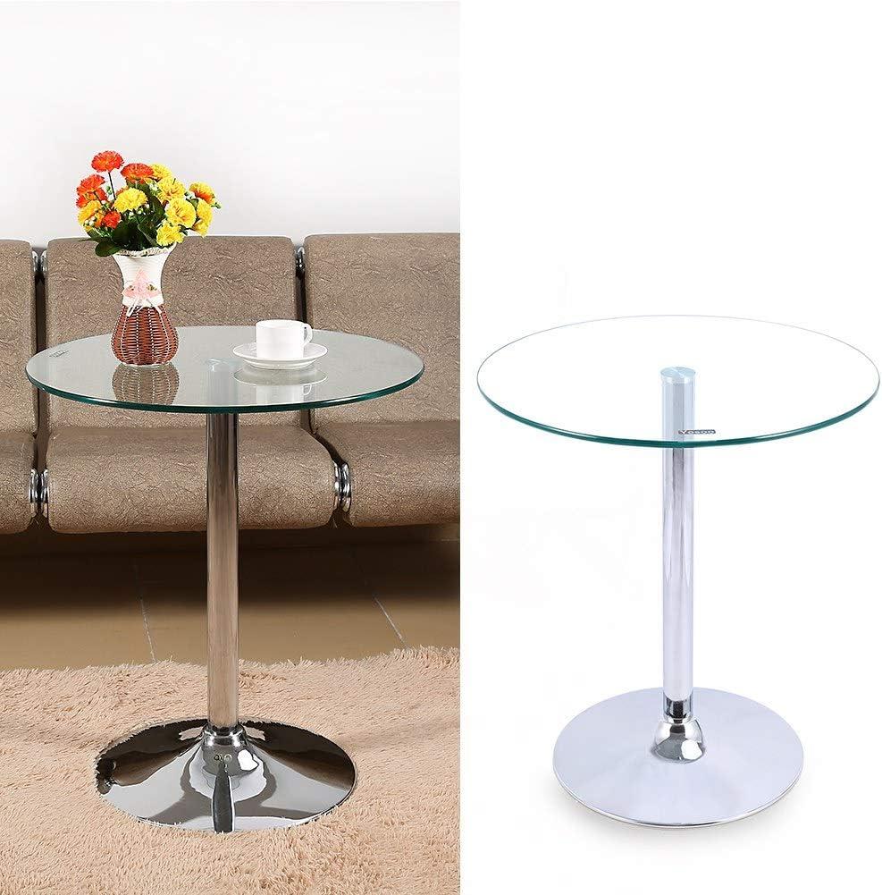 lyrlody Table en Verre Ronde Verre Table de Bar Table Basse Table de Bout Diam/ètre 60cm Hauteur 70 cm Table Ronde Design Transparent Table Basse dappoint pour Maison