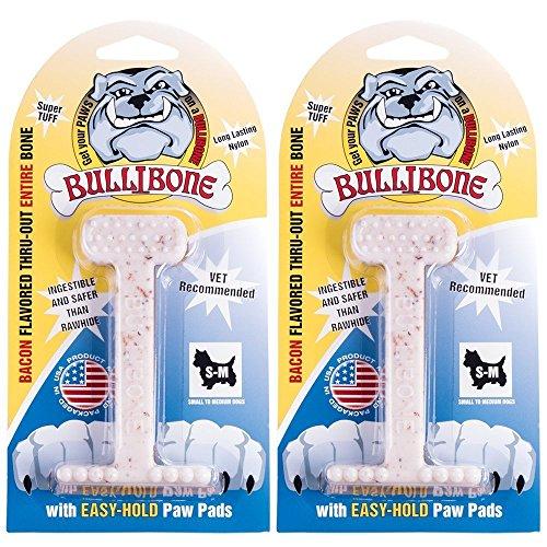 Nylon Dog Chew Toy- Bullibone Small Nylon Bone - Improves Dental Hygiene, Easy to Grip Bottom, and Permeated With Flavor (2-Pack, Bacon)