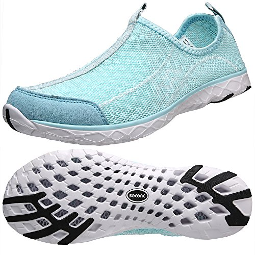 Athletic Water Shoes Aleader Women's Beach Walking Shoes Light Blue 9 D(M) US