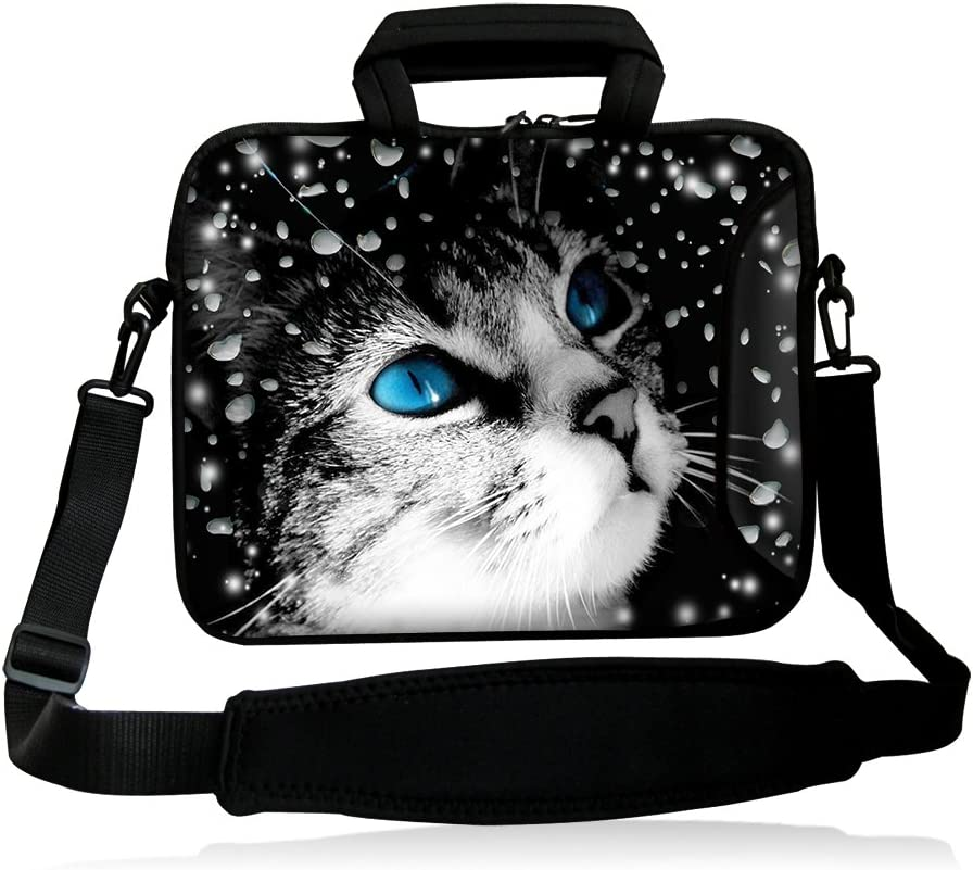 "iColor 15"" Laptop Shoulder Bag 14.1"" 14.2"" 15.6"" Inch Neoprene Laptop Messenger Bag 15.4"" Notebook Computer Dual Zipper Case Cover Pouch Holder Pocket -Cat Face"