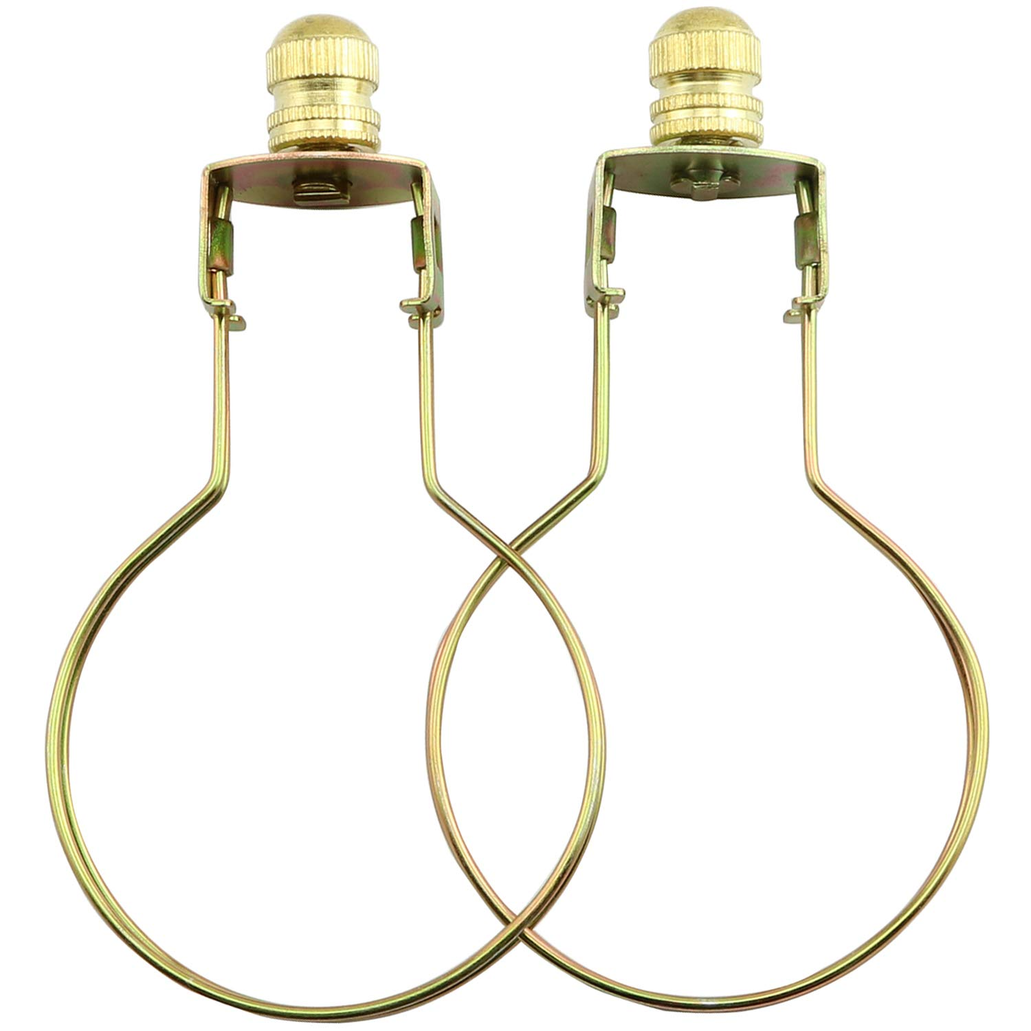 DZS Elec 1-Pack 55x90mm Gold Round Light Bulb Holder with Lamp Shade Attaching Finial DIY Lighting Accessories Clip On Lampshade Adapter