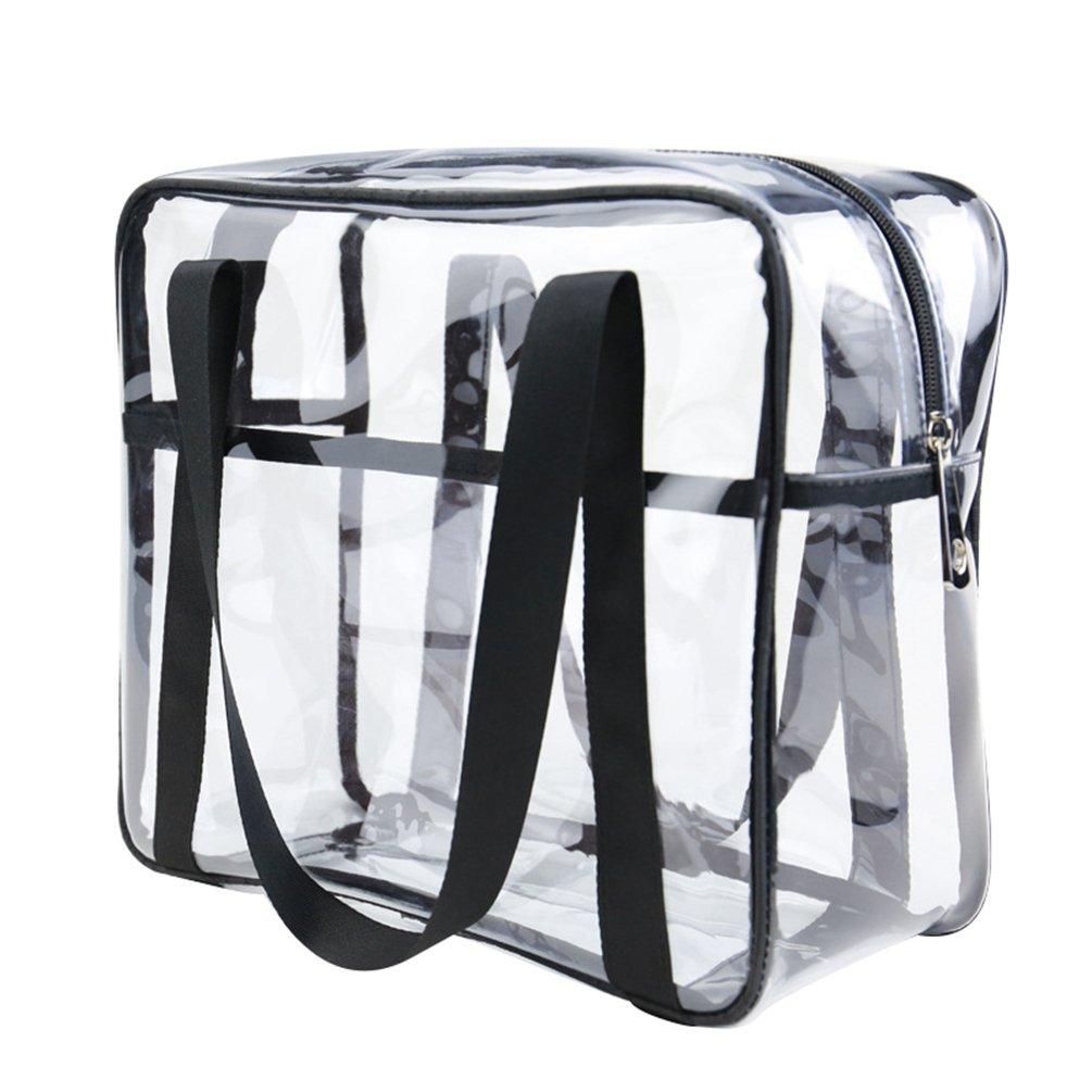Yuanu Trasparente PVC Cerniera Trucco Handbag Grande Capacità Multifunzione Necessità Quotidiane Borse Di Stoccaggio Serigrafia Impermeabile Durevole Viaggio Wash Borsa