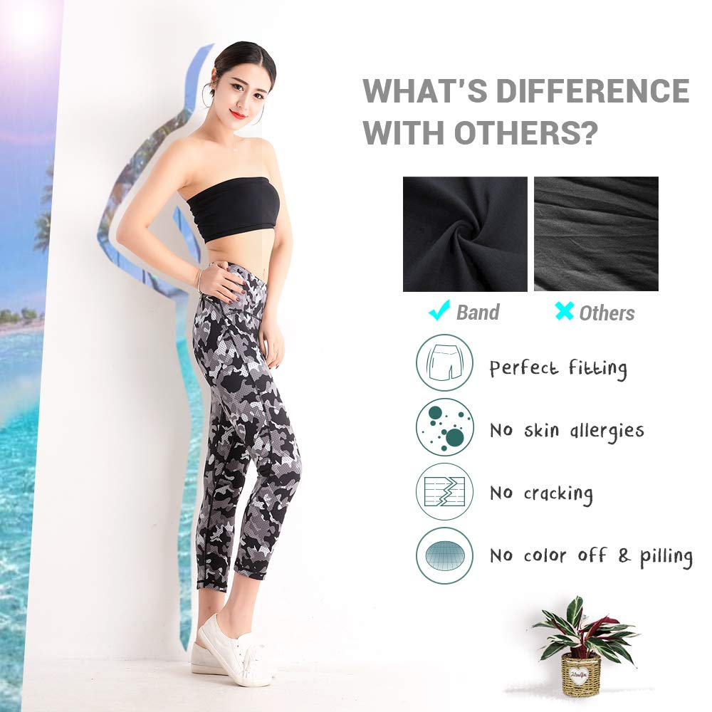 QUEEN FOREVER Black Yoga Pants Women High Waist Tummy Control Squat Proof Printed Stretch Pilates Hiking Activewear Running Workout Tights Gym Leggings